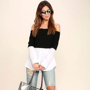 Lulus Black & White Off-the-Shoulder Top